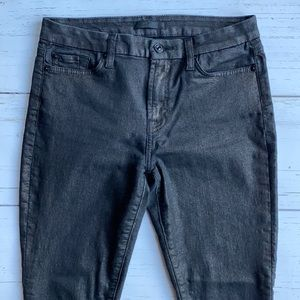7 For All Mankind Sheen Black Skinny Ankle Jeans